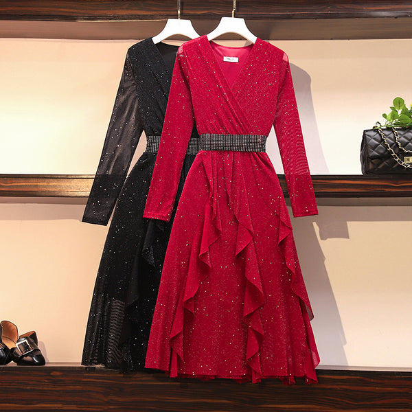 Plus Size V Neck Wrap Neckline Shimmer Long Sleve Frills Embellished Belt Long Sleeve Midi Dress (Red, Black) (Suitable For Weddings, Chinese New Year, Occasion) (EXTRA BIG SIZE)