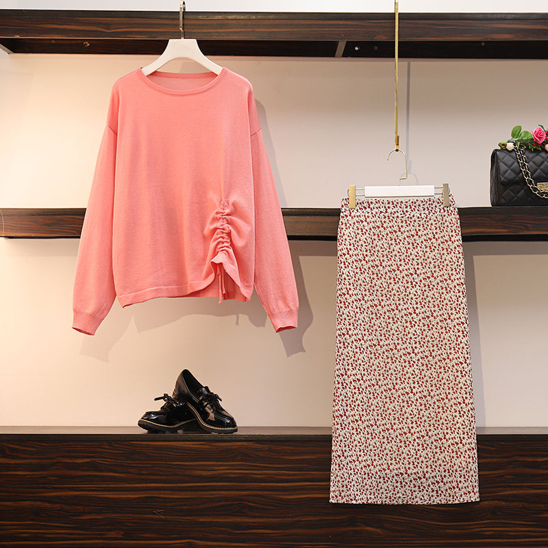 Plus Size Pink Side Scrunch Long Sleeve Top And White Rose Midi Skirt