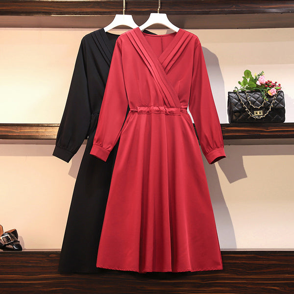 Plus Size V Neck Wrap Neckline Swing Long Sleve Midi Dress (Red, Black) (Suitable For Work, Weddings, Chinese New Year, Occasion) (EXTRA BIG SIZE)