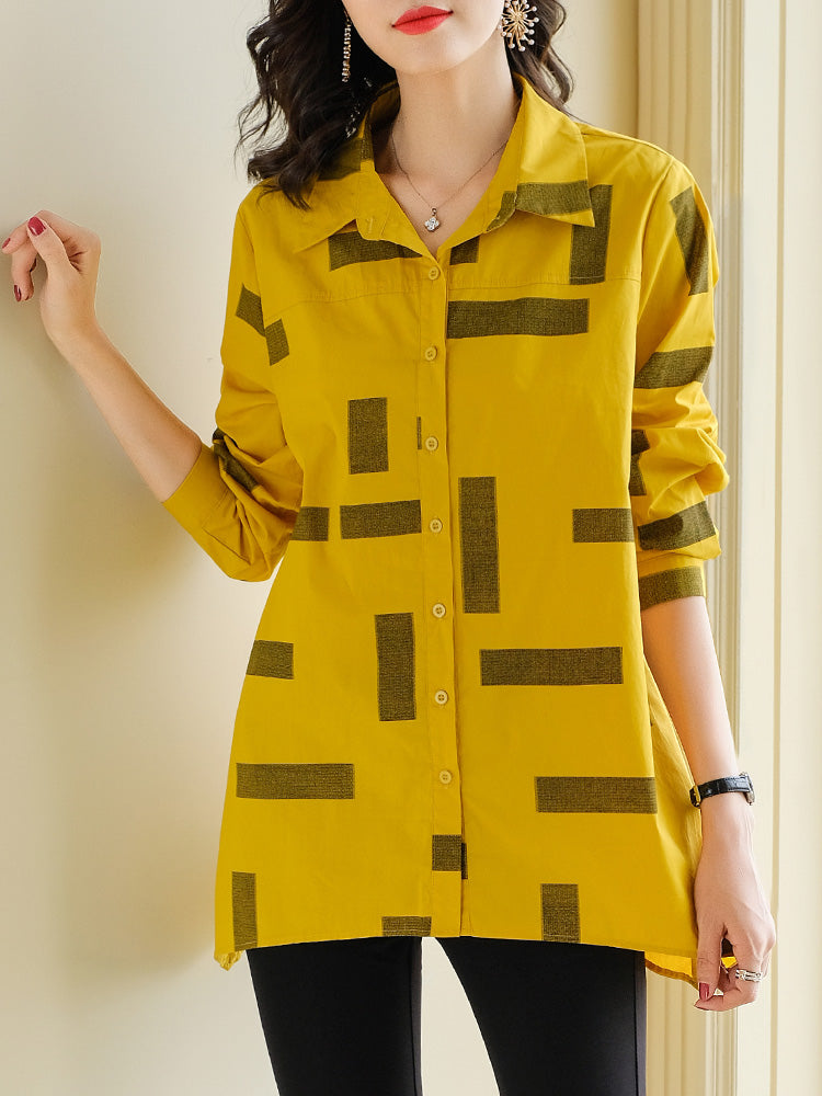 Plus Size Yellow Print Long Sleeve Shirt Blouse