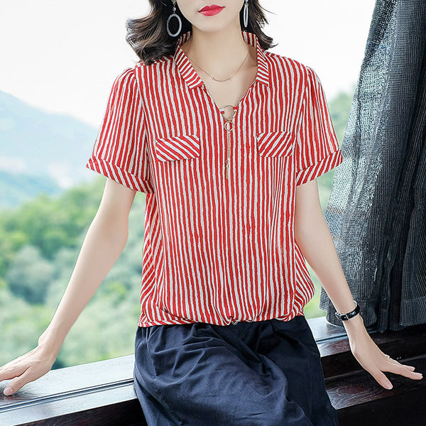 Plus Size V Neck Charm Stripe Chiffon Gathered Hem Short Sleeve Blouse (Red, Black) (EXTRA BIG SIZE)