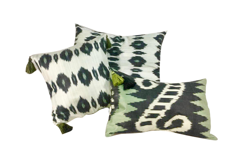 GREEN LEAVES SILK CUSHION COVERS ASSORTMENT