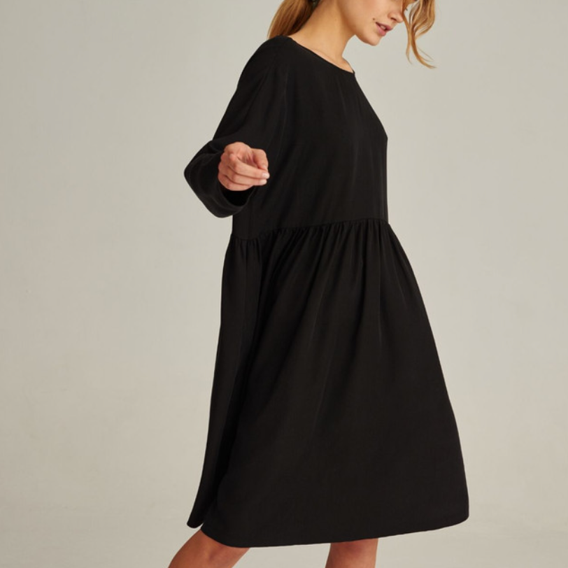 07/03 Natural TENCEL™ Lyocell Dress in Black