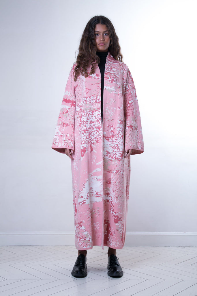 Blossom Handmade Cotton Long Kaftan in Pink