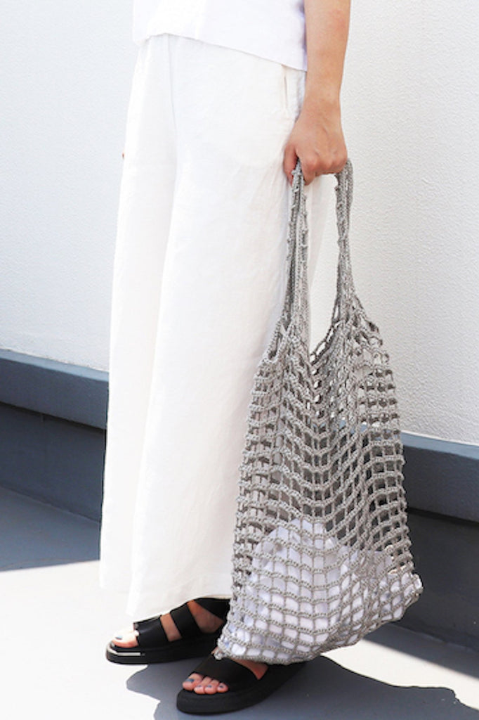 Crochet Handmade Linen Tote Bag in Gray