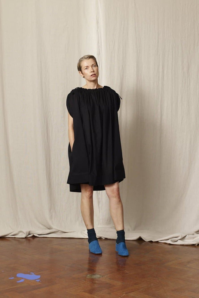 Molly Natural Cotton Dress in Black