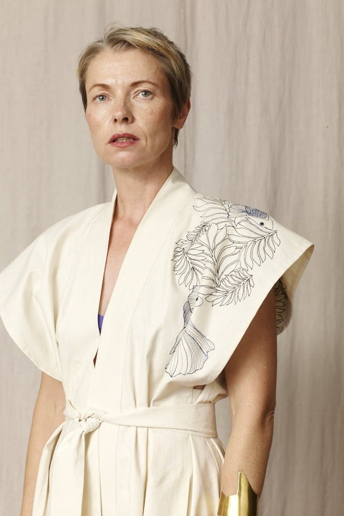 Bibi Embroidered Natural Silk Kimono Dress in Ecru
