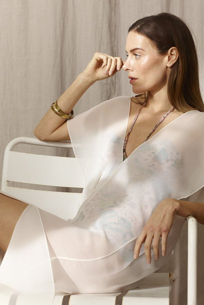 Laila Natural Silk Chiffon Kaftan in White
