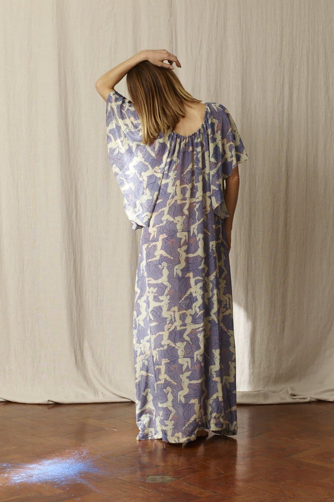 Dina Printed Natural Silk Dress in Blue