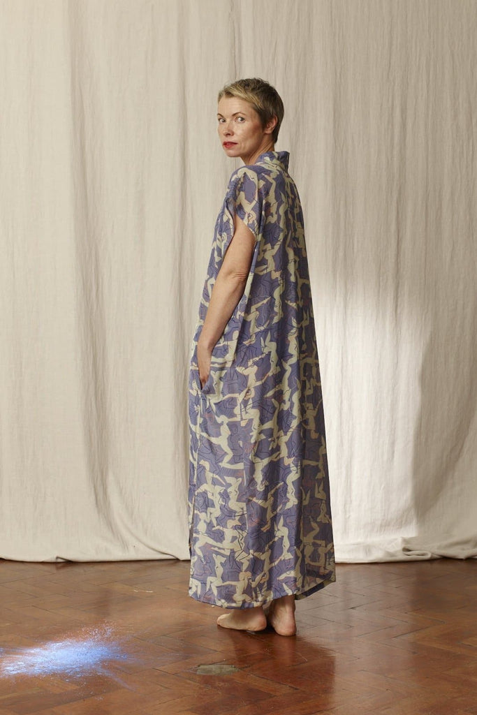 Bibi Printed Natural Silk Kimono Dress in Blue