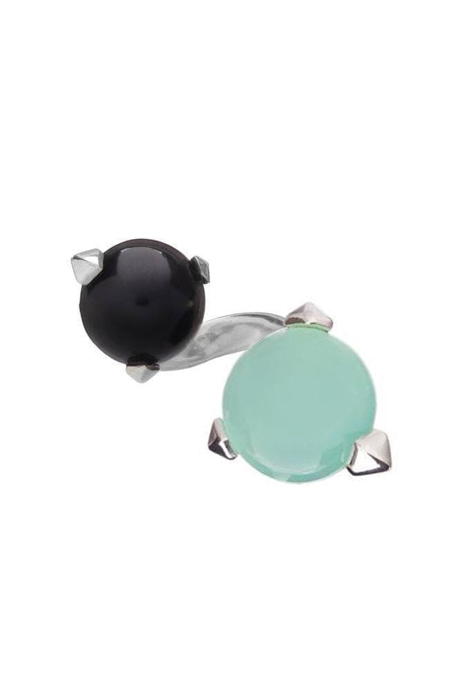 Bones Recycled Silver Double Ring - Turquoise Chalcedony