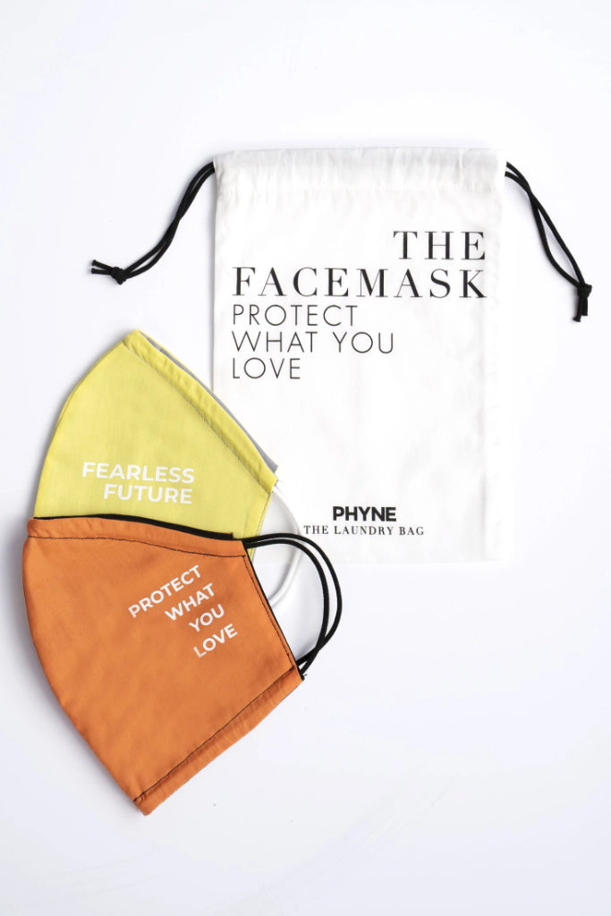 2 x It's Techno Baby Organic Cotton Masks in Yellow & Orange