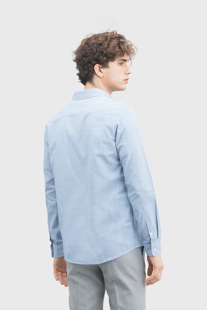Button Up Ethical Poplin Shirt in Light Blue