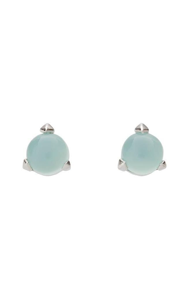Bones Recycled Silver Mini Earrings - Turquoise Chalcedony