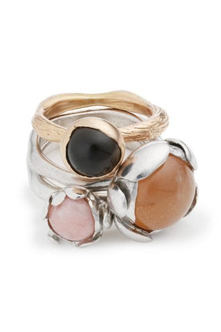 Blossom Recycled Silver Ring - Peach Moonstone