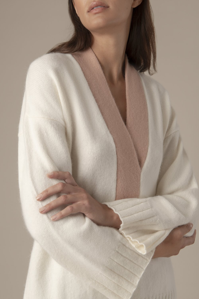Esme Angora blend sweater - White & rusty rose