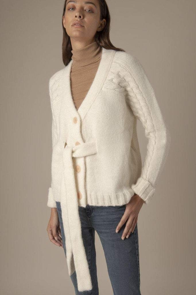 Harper Ethical Alpaca & Silk Oversize Cardigan in White