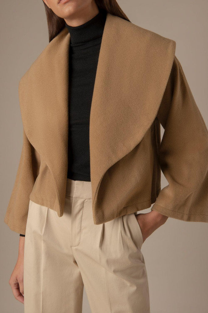 Crimson Ethical Cashmere Coat in Camel
