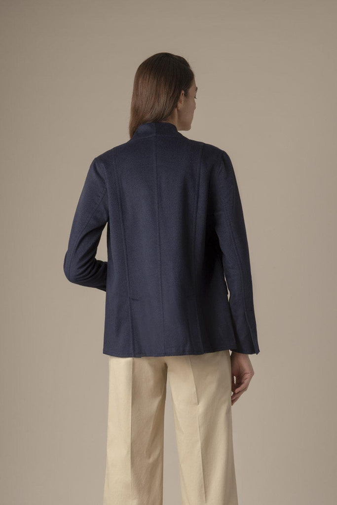 Charlotte Ethical Wool & Cashmere Blazer-Jacket in Navy