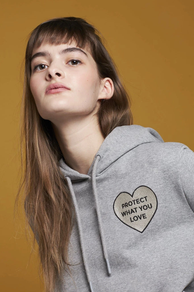 "Organic Cotton Unisex Hoodie ""Protect What You Love"" in Grey"