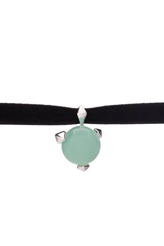 Bones Recycled Silver Choker - Turquoise Chalcedony