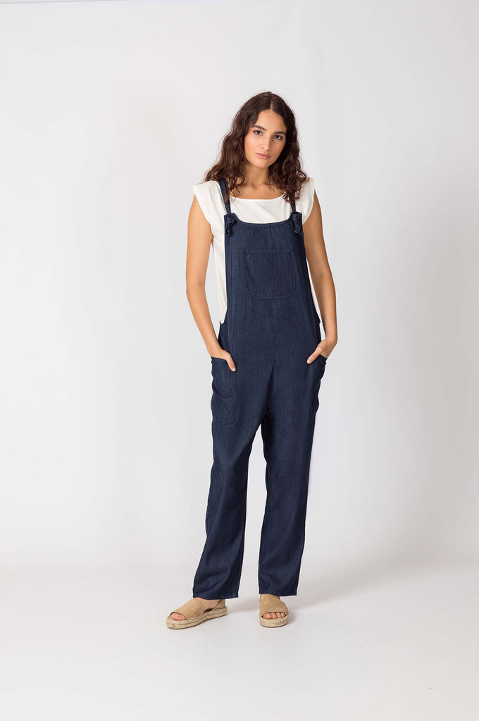Dungarees Organic Cotton Jumpsuit in Dark Blue Denim