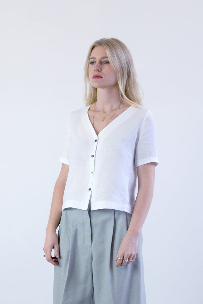 #035 Vegan Linen Shirt in White