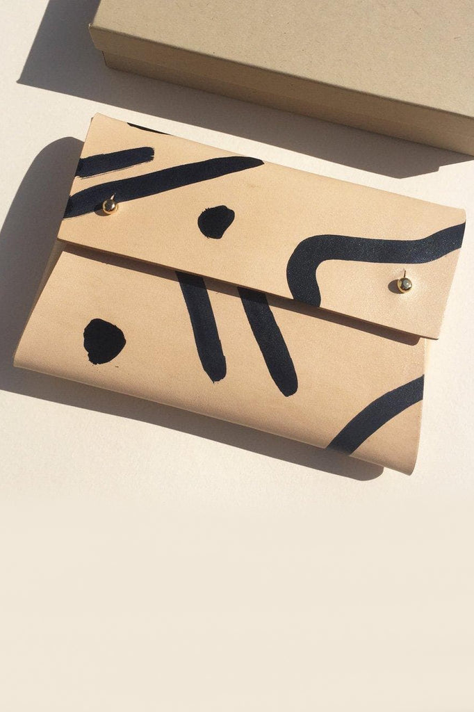 Misha Handmade Vegetable Leather Pouch in Nude with Black Shapes