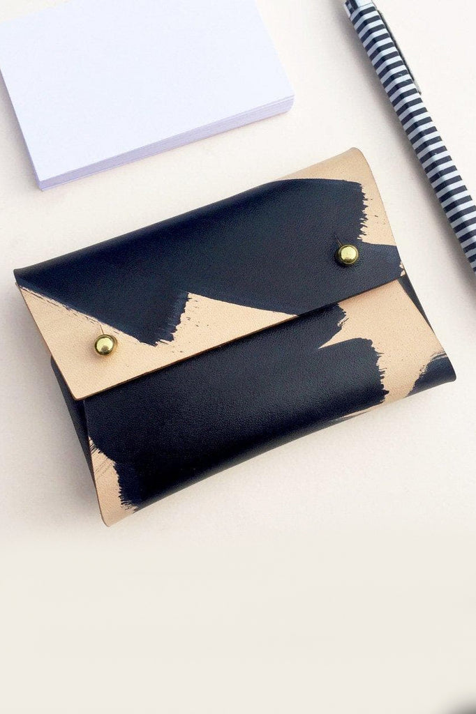 Mila Handmade Vegetable Leather Small Pouch in Black Pattern