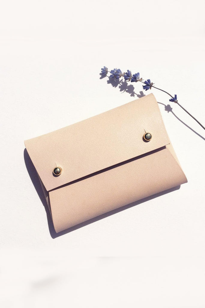 Mila Handmade Vegetable Leather Small Pouch in Nude