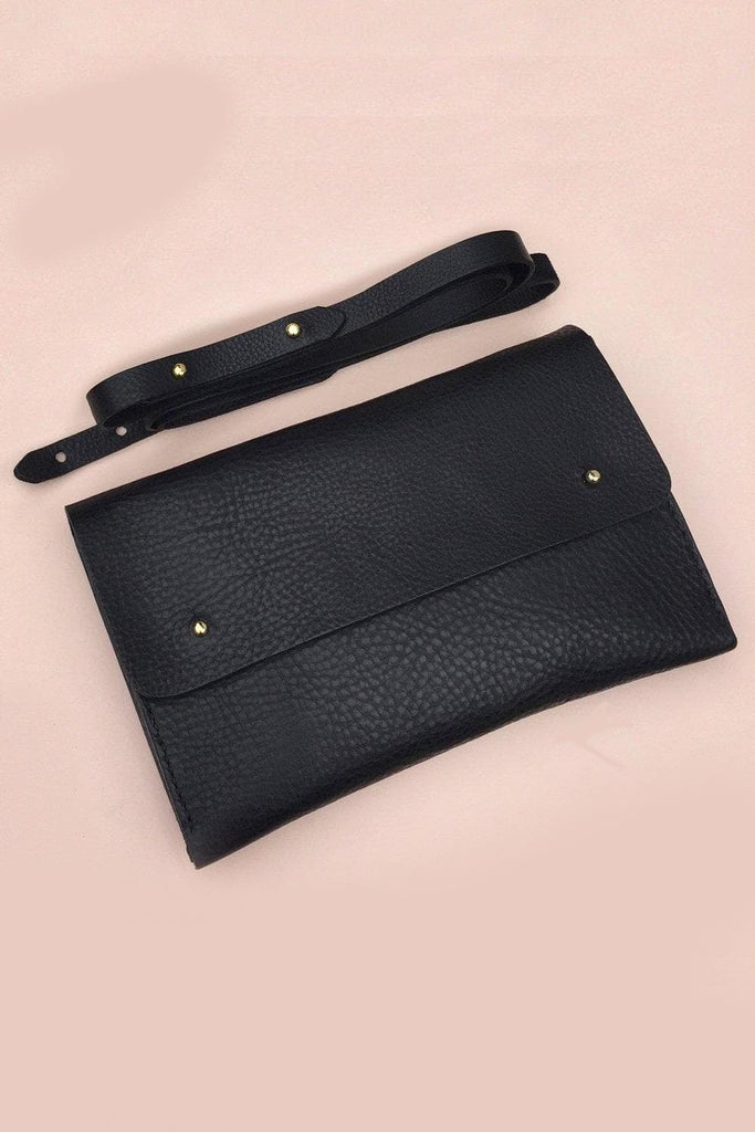 Kaine Handmade Vegetable Leather Clutch Bag in Grained Black
