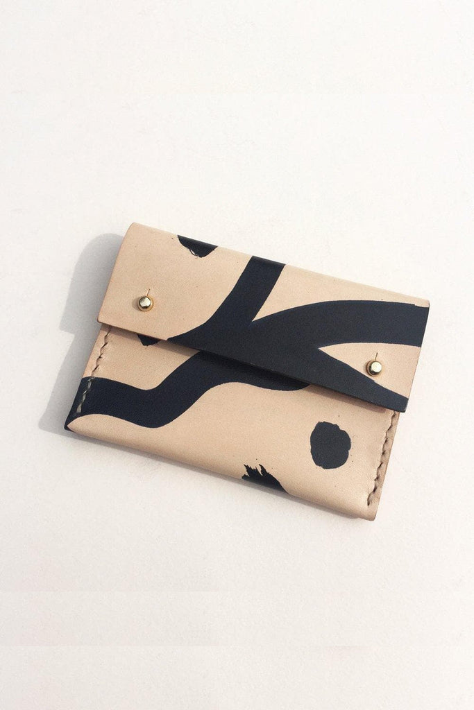 Maya Handmade Vegetable Card Holder in Nude with Black Shapes
