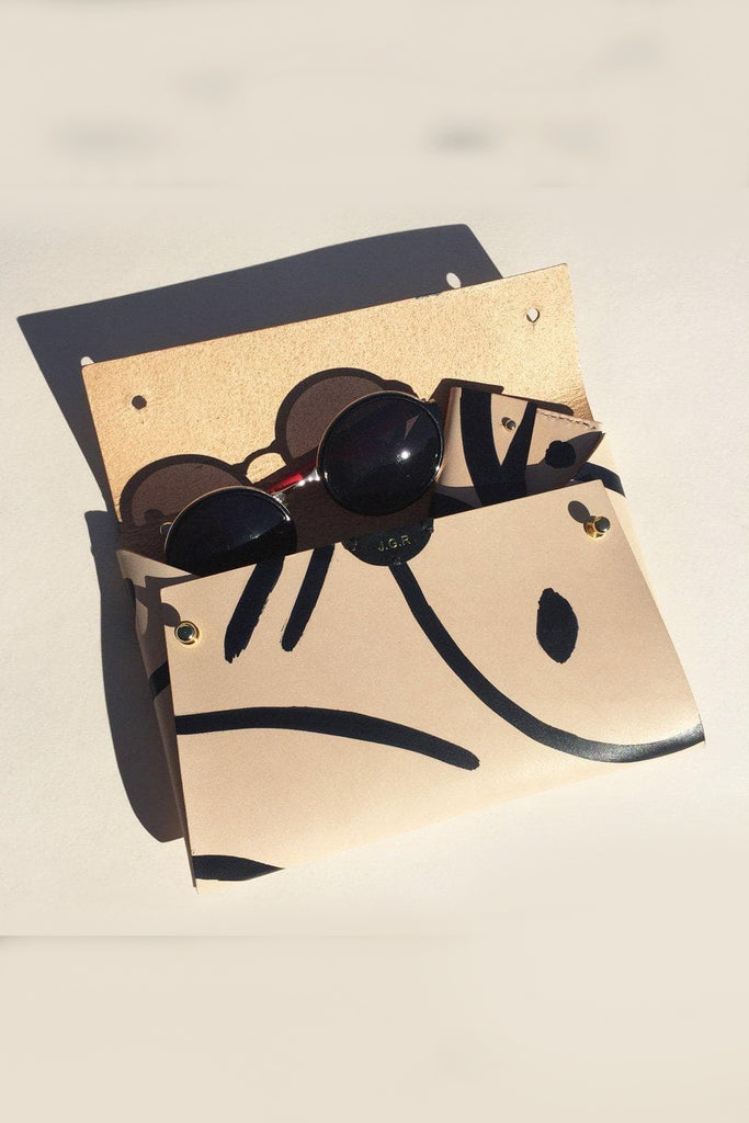 Sasha Handmade Vegetable Leather Clutch Bag in Nude with Black Shapes