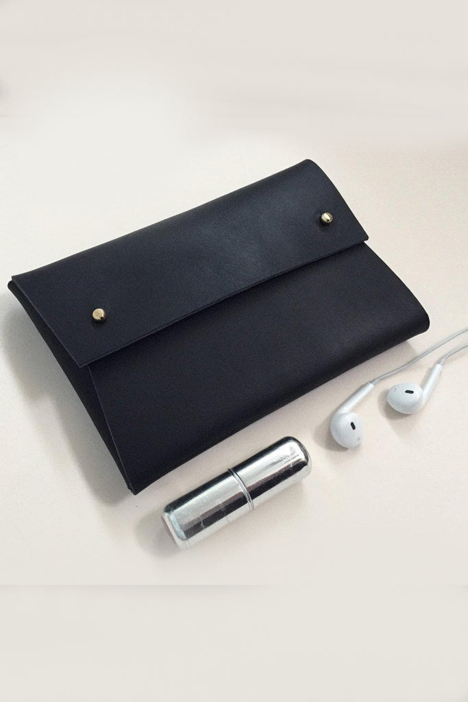 Misha Handmade Vegetable Leather Pouch in Matte Black