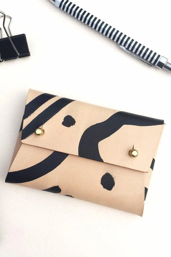 Mila Handmade Vegetable Leather Pouch in Nude with Black Shapes