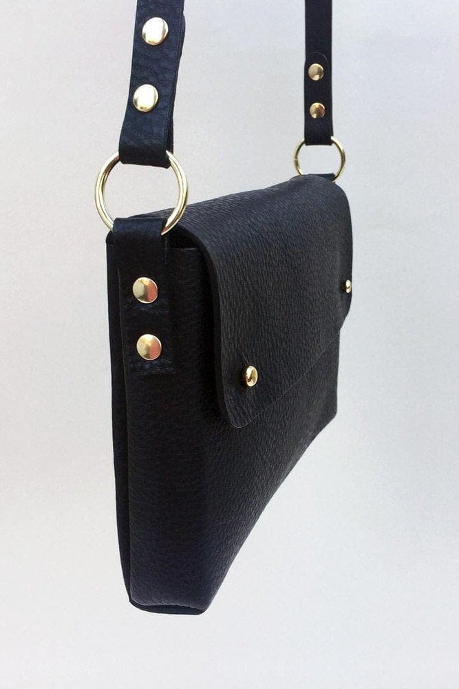 Mara Handmade Vegetable Leather Cross-Body Bag in Black