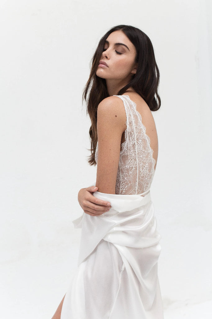 Alia Recycled Polyamide Lace Bodysuit in White