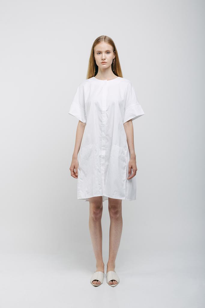 Organic Japanese Cotton Dress in White