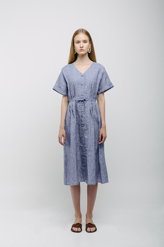 80's Organic Linen Dress in Blue Gray