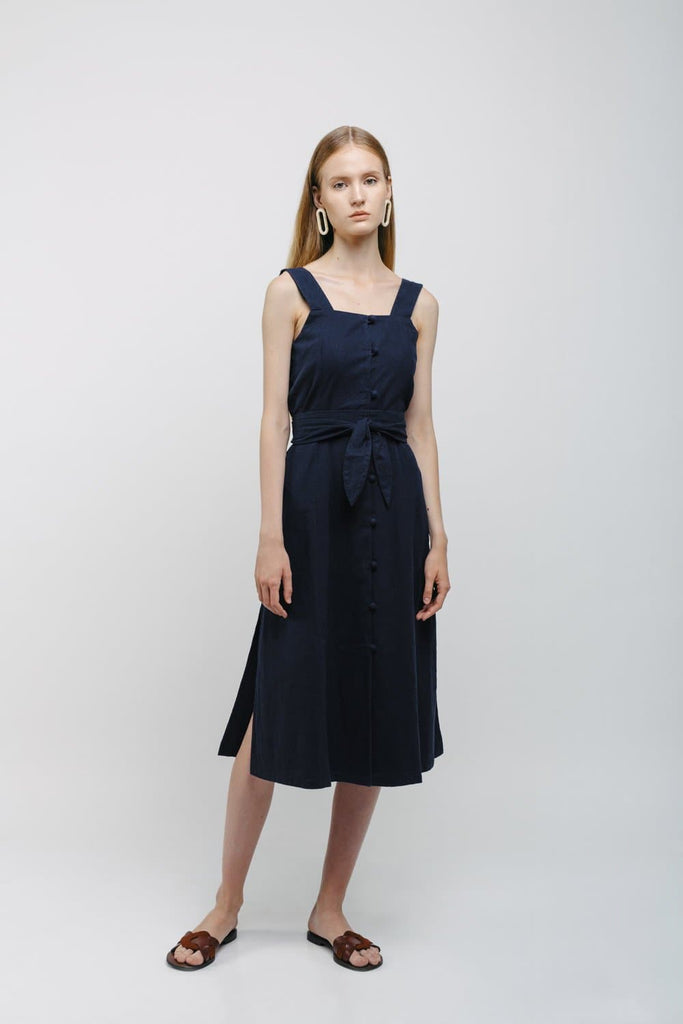 Organic Linen Dress in Dark Blue