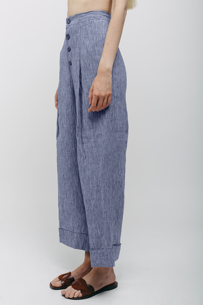 Organic Linen Trousers in Blue Grey