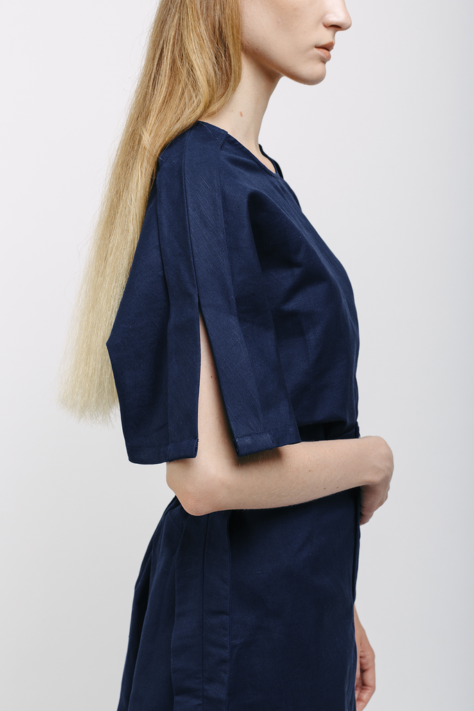 Boxy Organic Linen & Cotton Shirt in Navy Blue