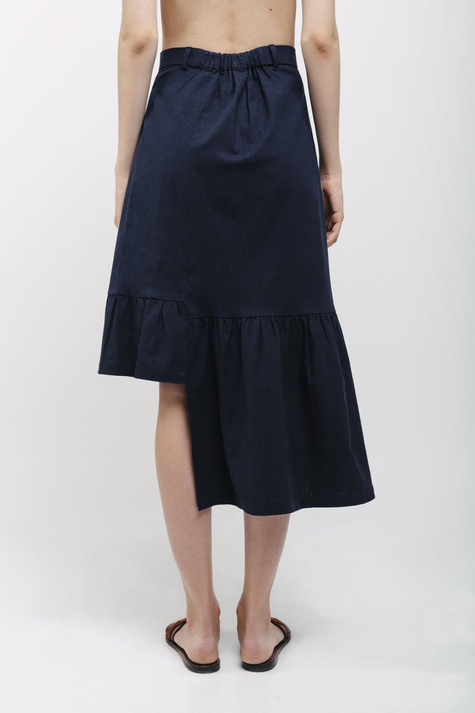 80's Organic Linen Asymmetrical Skirt in Dark Blue