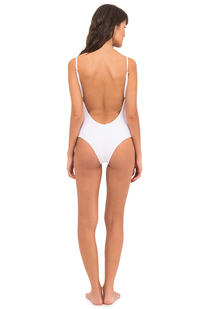 Uva White Low Cut Back One Piece