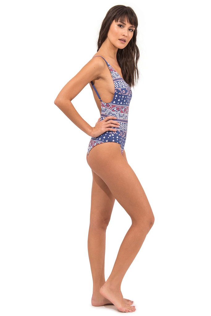 Uva Fiji Vegan Nylon&Lycra Low Cut Back One Piece Swimsuit in Blue Print