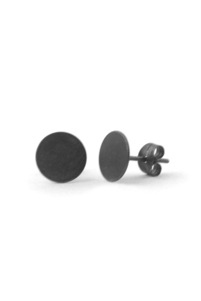 Dark Oxidized Round Recycled Sterling Silver Small Ear Studs