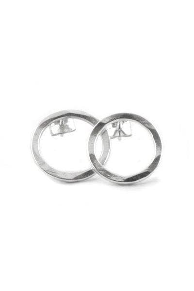Hammered Circle Recycled Sterling Silver Ear Studs