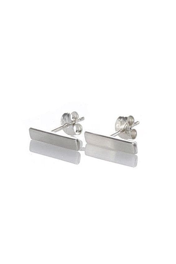 Recycled Sterling Silver Bar Ear Studs in Matte Silver