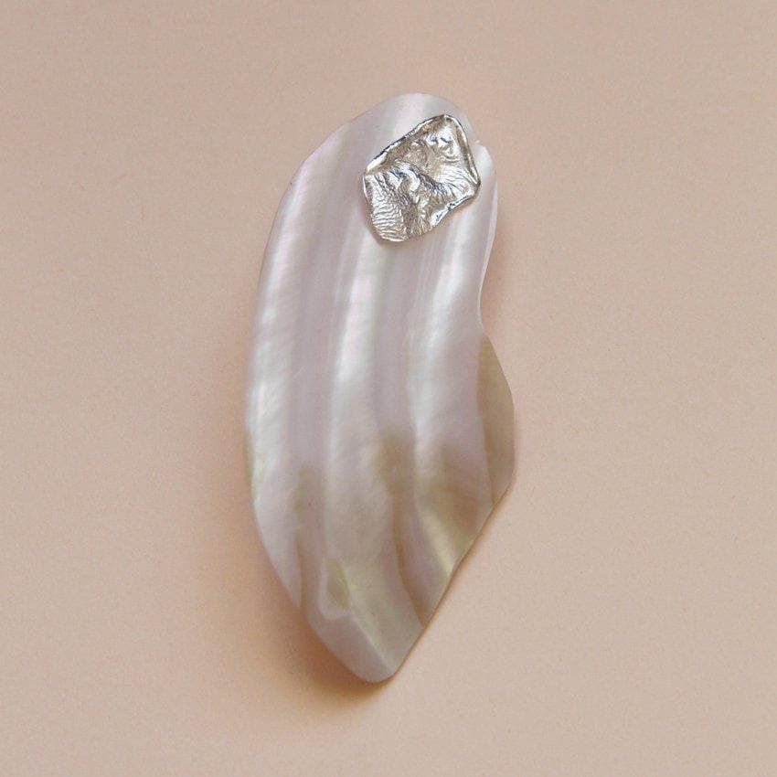 Sculpted Shell Recycled Sterling Silver Earring