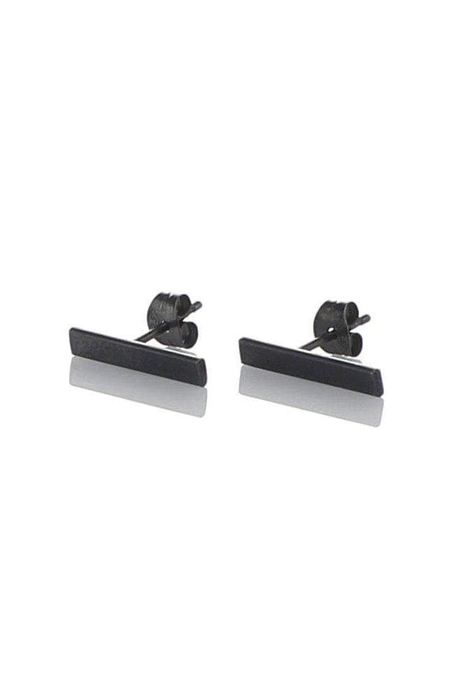 Dark Oxidized Recycled Sterling Silver Bar Ear Studs